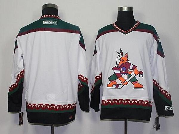 Men's Phoenix Coyotes Blank White 1998 CCM Vintage Throwback Hockey Jersey