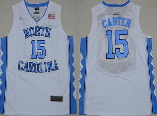 b4c918bb37ae Mens North Carolina Tar Mens North Carolina Tar Heels 15 Vince Carter 2016  White Swingman College Basketball Jersey ...
