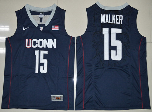f0f49ecb0431 Mens Uconn Huskies 15 Kemba Walker Navy Blue Nike College Basketball  Swingman Jersey ...