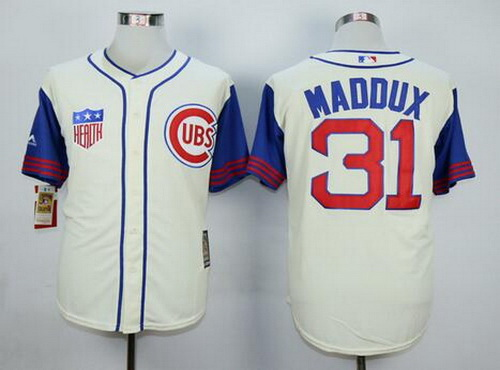 fb97eae9c12 ... Mens Chicago Cubs 31 Greg Maddux Retired Cream 1942 Majestic Cooperstown  Collection Throwback Jersey ...