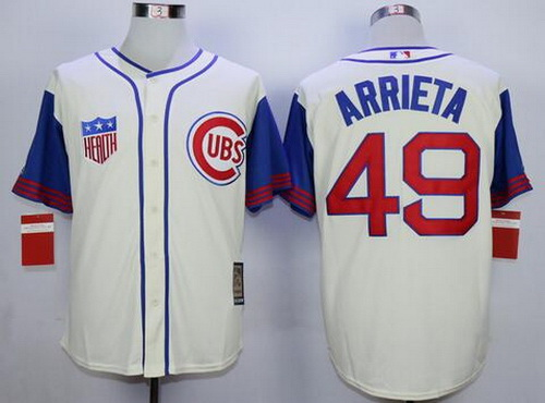 5ac787da8a1 Men s Chicago Cubs  49 Jake Arrieta Cream 1942 Majestic Cooperstown  Collection Throwback Jersey