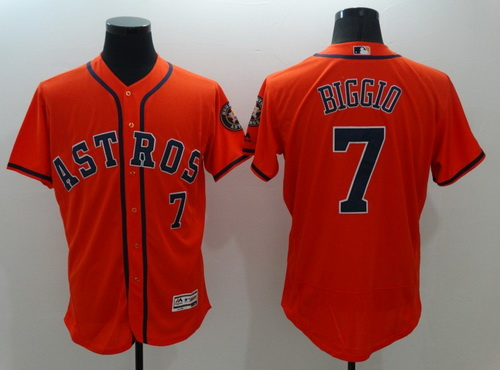 7f8b0391a92 ... Throwback Cooperstown Collection Stitched MLB Mitchell Mens Houston  Astros 7 Craig Biggio Retired Orange 2016 Flexbase Majestic Baseball Jersey  ...