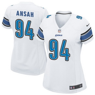 Cheap NFL Jerseys NFL - Women's Detroit Lions #94 Ezekiel Ansah WHITE Nik Game Jersey on ...