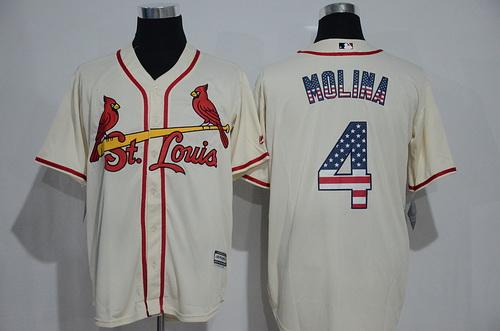 fa1ec47da ... Mens St. Louis Cardinals 4 Yadier Molina Cream USA Flag Fashion MLB Baseball  Jersey ...