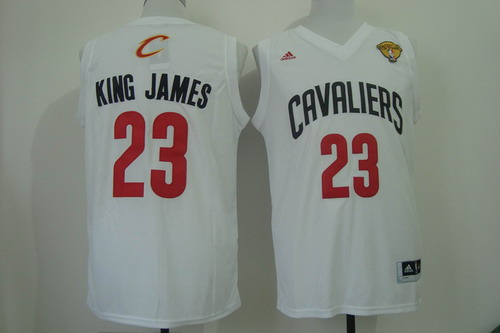 f4bae7138 ... Mens Cleveland Cavaliers 23 King James Nickname 2016 The NBA Finals  Patch White Fashion Jersey Cleveland Cavaliers 23 LeBron James yellow  Throwback ...