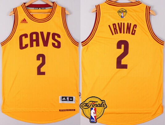 e6b3b57fd ... Mens Cleveland Cavaliers 2 Kyrie Irving 2016 The NBA Finals Patch  Yellow Jersey ...