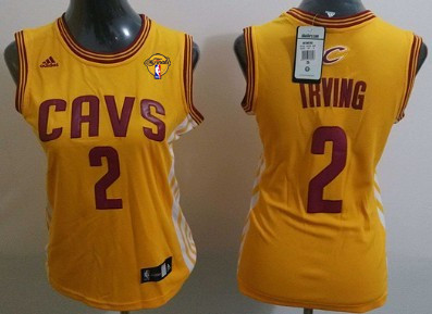 Women's Cleveland Cavaliers #2 Kyrie Irving Yellow 2016 The NBA Finals Patch Jersey