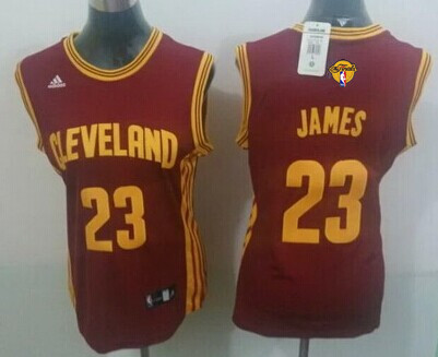 Women's Cleveland Cavaliers #23 LeBron James Red 2016 The NBA Finals Patch Jersey