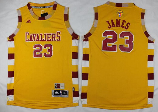 Youth Cleveland Cavaliers #23 LeBron James Yellow Throwback 2016 The NBA Finals Patch Jersey