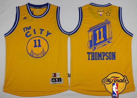 Men's Golden State Warriors #11 Klay Thompson Retro Yellow 2016 The NBA Finals Patch Jersey