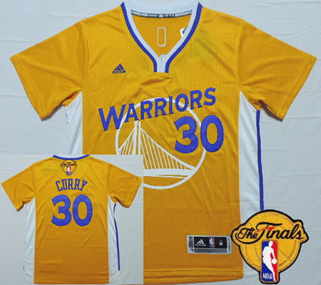 Men's Golden State Warriors #30 Stephen Curry Revolution Yellow Short-Sleeved 2016 The NBA Finals Patch Jersey