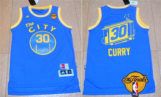 Men's Golden State Warriors #30 Stephen Curry Retro Blue 2016 The NBA Finals Patch Jersey