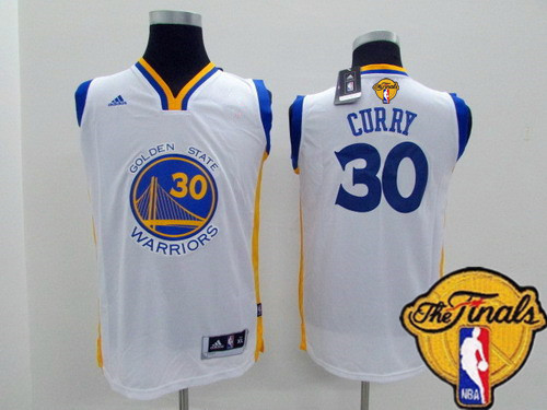 Youth Golden State Warriors #30 Stephen Curry White 2016 The NBA Finals Patch Jersey