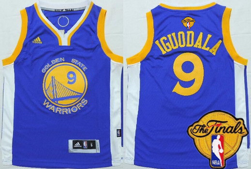 Youth Golden State Warriors #9 Andre Iguodala Blue 2016 The NBA Finals Patch Jersey