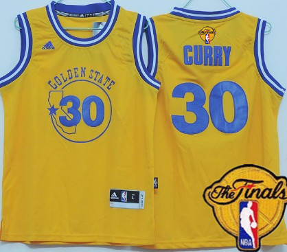 Youth Golden State Warriors #30 Stephen Curry Yellow Hardwood Swingman 2016 The NBA Finals Patch Jersey