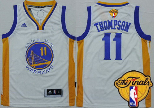 Youth Golden State Warriors #11 Klay Thompson White 2016 The NBA Finals Patch Jersey