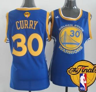 Women's Golden State Warriors #30 Stephen Curry Blue 2016 The NBA Finals Patch Jersey
