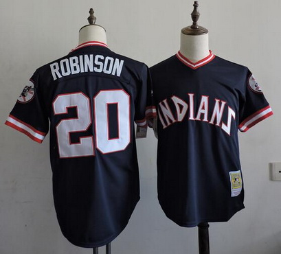 f516e226b8f ... MLB Baltimore Orioles Majestic Alternate Mens Cleveland Indians 20  Frank Robinson 1994 Navy Blue Mitchell Ness Throwback Jersey ...