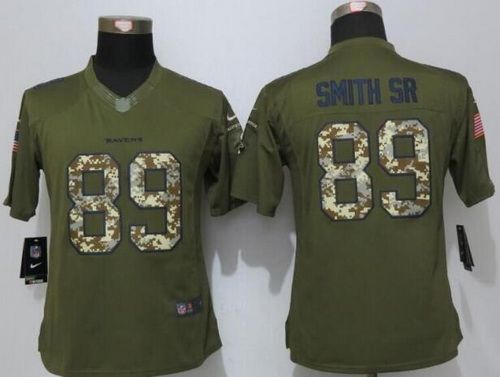 ID100681 Women\'s Baltimore Ravens #89 Steve Smith Sr Green Salute to Service NFL Nike Limited Jersey