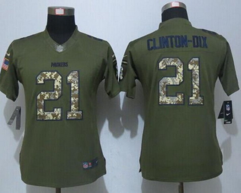 ID100643 Women\'s Green Bay Packers #21 Ha Ha Clinton-Dix Green Salute to Service NFL Nike Limited Jersey