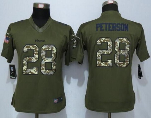 Women s Minnesota Vikings  28 Adrian Peterson Green Salute to Service NFL  Nike Limited Jersey 543cfaa8a