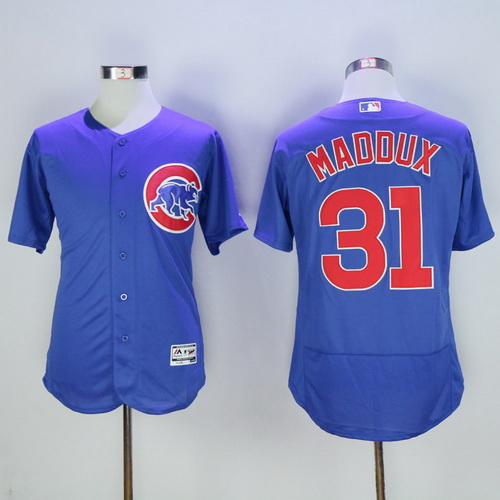f7a1817e6 Men s Chicago Cubs  31 Greg Maddux Retired Royal Blue 2016 Flexbase  Majestic Baseball Jersey