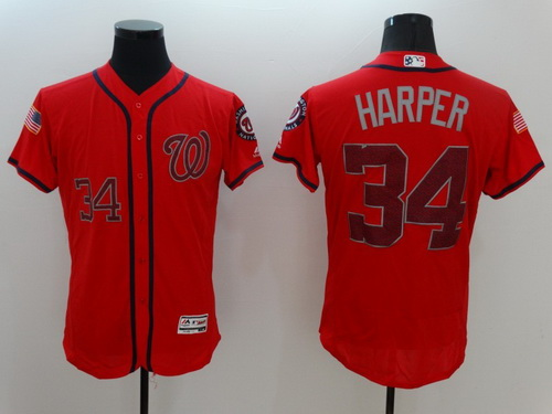 465302cb7 low cost mens washington nationals 34 bryce harper red fashion stars  stripes 2016 flexbase majestic jersey
