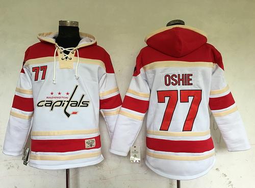 f6667f3b369 Washington CapitalsHooded SweatshirtsNhl JerseysNfl Mens Washington  Capitals 77 T.J. Oshie White Old Time Hockey Hoodie ...