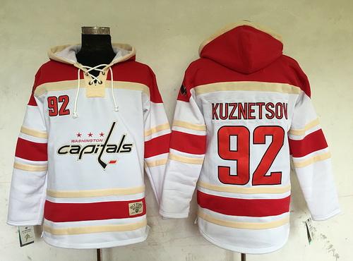 cfc8ed12ee7 Men's Washington Capitals #92 Evgeny Kuznetsov White Old Time Hockey Hoodie