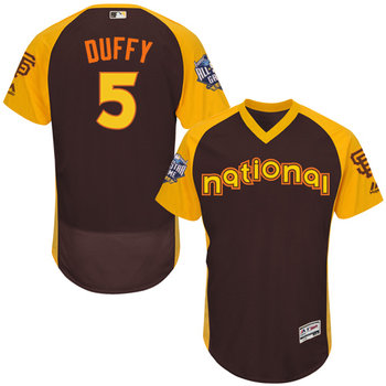 Matt Duffy Brown 2016 All-Star Jersey - Men's National League San Francisco Giants #5 Flex Base Majestic MLB Collection Jersey