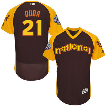 Lucas Duda Brown 2016 All-Star Jersey - Men's National League New York Mets #21 Flex Base Majestic MLB Collection Jersey