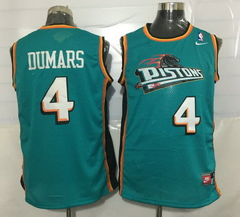 Men's Detroit Pistons #4 Joe Dumars Teal Green Hardwood Classics Soul Swingman Throwback Jersey