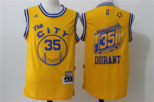 9c0732a55e1 ... Jersey Mens Golden State Warriors 35 Kevin Durant Yellow 2015-16 Retro  Revolution 30 Swingman Basketball ...