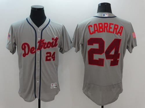 6d1384e4a Mens Detroit Tigers 24 Miguel Cabrera Gray Fashion Stars Stripes 2016  Flexbase MLB Independence Day Jersey ...