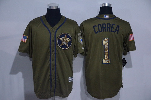 mens houston astros 1 carlos correa green salute to service cool base stitched mlb jersey
