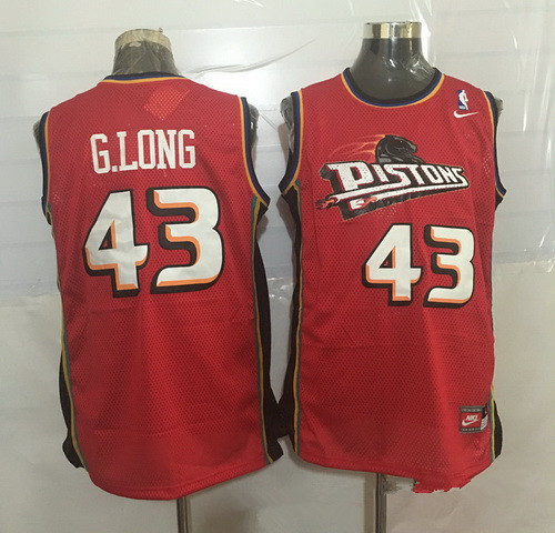 948fdf309b7d Men s Detroit Pistons  43 Grant Long Red Hardwood Classics Soul Swingman  Throwback Jersey
