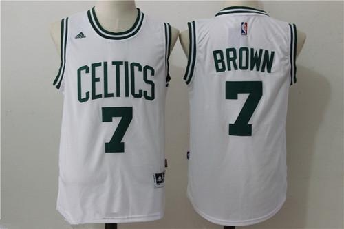 3a6080bcb ... Mens Boston Celtics 7 Jaylen Brown White Stitched NBA adidas Revolution  30 Swingman Jersey ...