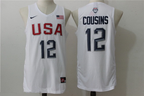 2016 Olympics Team USA Men's #12 DeMarcus Cousins White Stitched NBA Nike Swingman Jersey