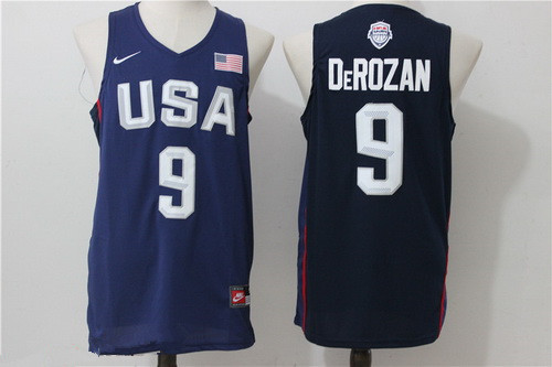 2016 Olympics Team USA Men's #9 DeMar DeRozan Navy Blue Stitched NBA Nike Swingman Jersey