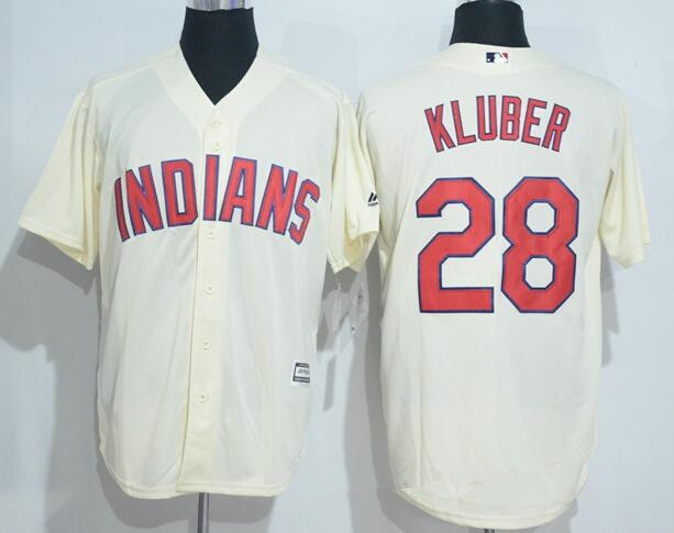 reputable site b8237 577e7 Men's Cleveland Indians #28 Corey Kluber Cream Stitched MLB ...