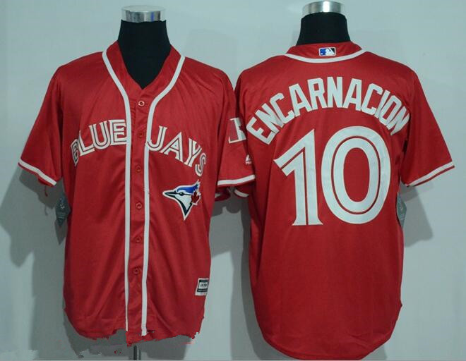 Men's Toronto Blue Jays #10 Edwin Encarnacion Red Stitched