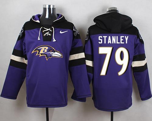 Nike Ravens #79 Ronnie Stanley Purple Player Pullover NFL Hoodie