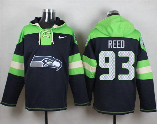 Nike Seahawks #93 Jarran Reed Navy Blue Player Pullover NFL Hoodie