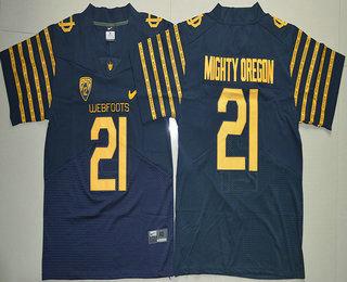 Men's Oregon Ducks Spring Game #21 Mighty Oregon Weebfoot 100th Rose Bowl Game Navy Blue Elite Jersey