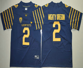 Men's Oregon Ducks Spring Game #2 Mighty Oregon Weebfoot 100th Rose Bowl Game Navy Blue Elite Jersey