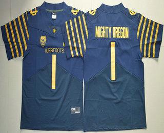Men's Oregon Ducks Spring Game #1 Mighty Oregon Weebfoot 100th Rose Bowl Game Navy Blue Elite Jersey