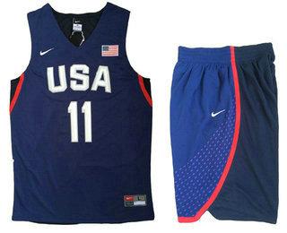 2016 Olympics Team USA Men's #11 Klay Thompson Navy Blue Revolution 30 Swingman Basketball Jersey With Shorts