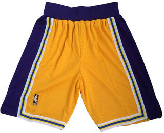 Men's Los Angeles Lakers Yellow Hardwood Classics Soul Swingman Throwback Shorts