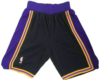 Men's Los Angeles Lakers Black Hardwood Classics Soul Swingman Throwback Shorts