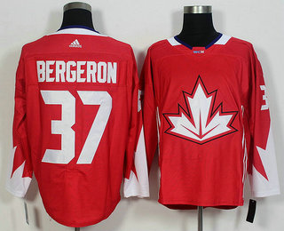 Men's Team Canada #37 Patrice Bergeron Red 2016 World Cup of Hockey Game Jersey